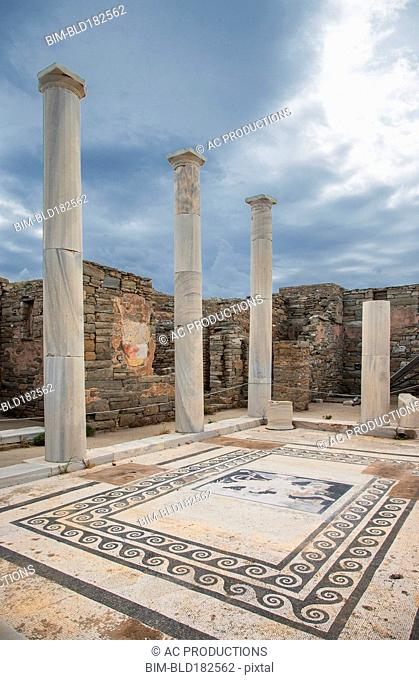 Pillars and tile floor at ruins