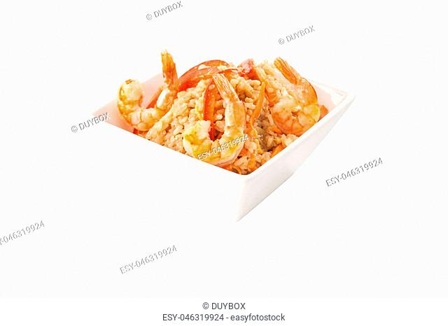 Fried rice with shrimp in white square bowl background