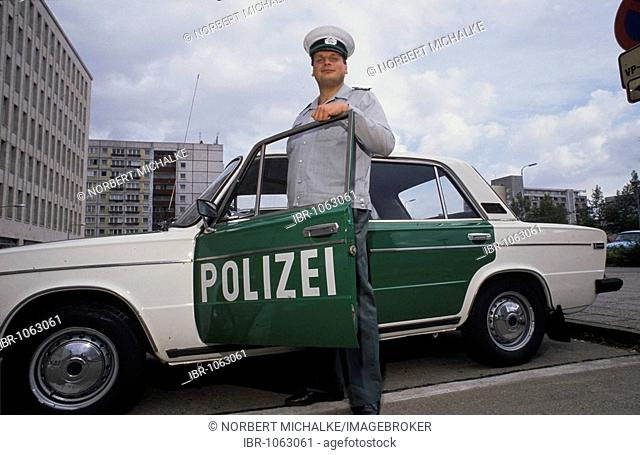 Fall of the Berlin wall, in spring, 1990, vehicles of the East Berlin police are painted in the colours of the West Berlin police, Germany, Europe