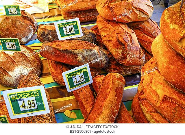 French breads on a market at Maurs, Cantal, Auvergne, France