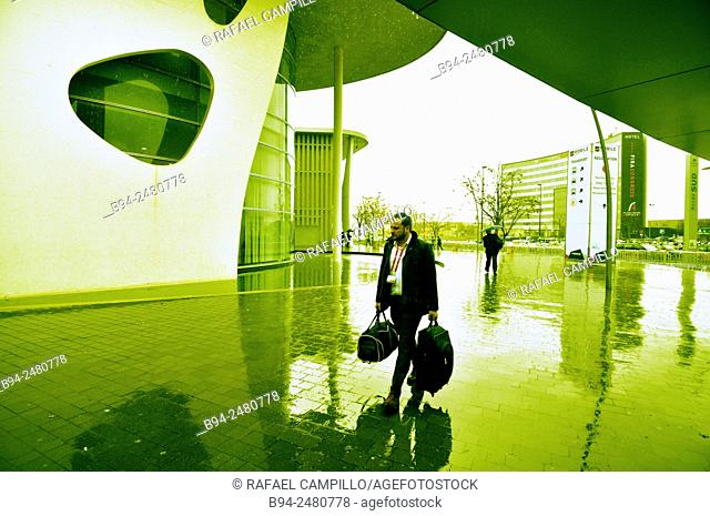 Mobile World Congress. Fira de Barcelona. Gran Via venue, Av. Joan Carles I, 64. Hospitalet de Llobregat. Architect: Toyo Ito. Barcelona. Catalonia