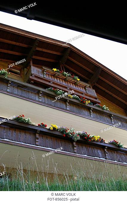 Detail of a wooden chalet, Huettschlag, Austria