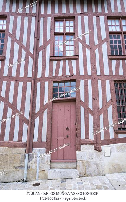 Medieval facade, Old wooden architecture, Orleans City, Loiret Department, The Loire Valley, France, Europe