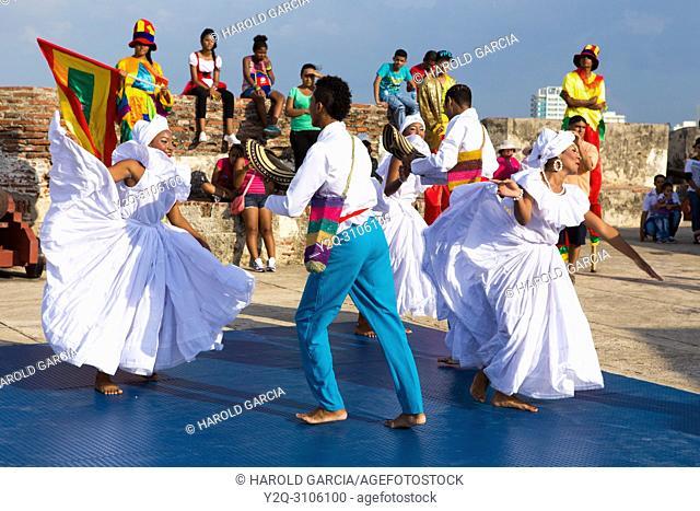 Dancers on San Felipe of Barajas Castle, Cartagena, Bolivar, Colombia
