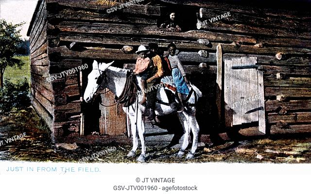 Three Boys on Horse in Front of Log Barn, 1908