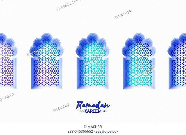 Arabic window arch in paper cut style. Origami Ramadan Kareem greeting cards. Arabesque pattern. Crescent Moon. Holy month of muslim. Symbol of Islam