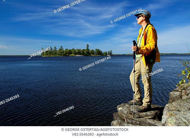 Hiker by Kabetogama Lake, Woodenfrog State Forest Campground, Kabetogama State Forest, Voyageurs National Park, Minnesota