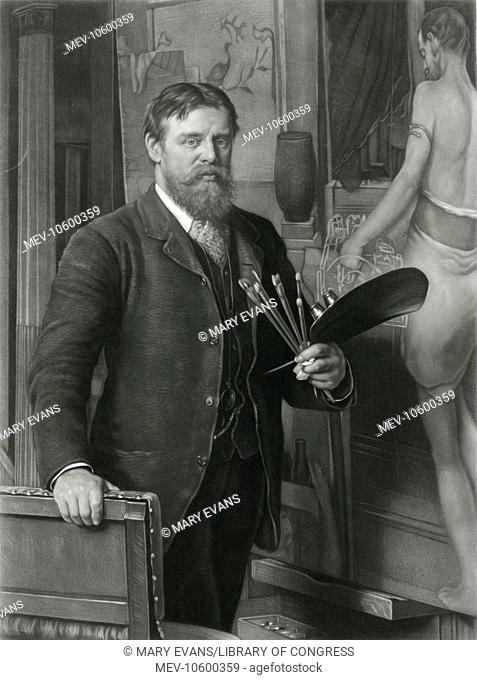 L Alma Tadema R.A. in his studio. Engraved by T L Atkinson
