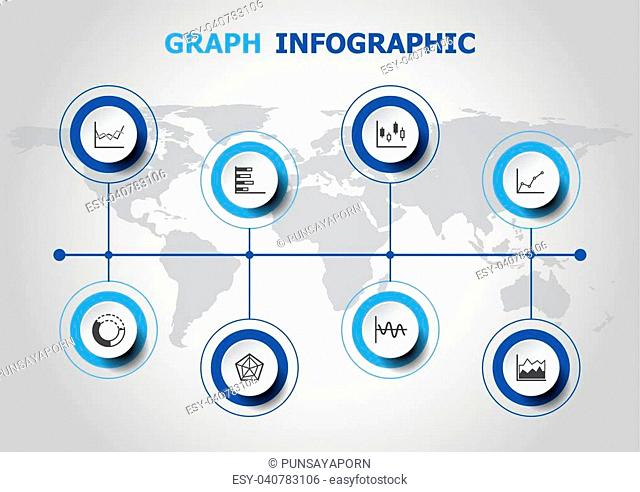 Infographic design with graph icons, stock vector