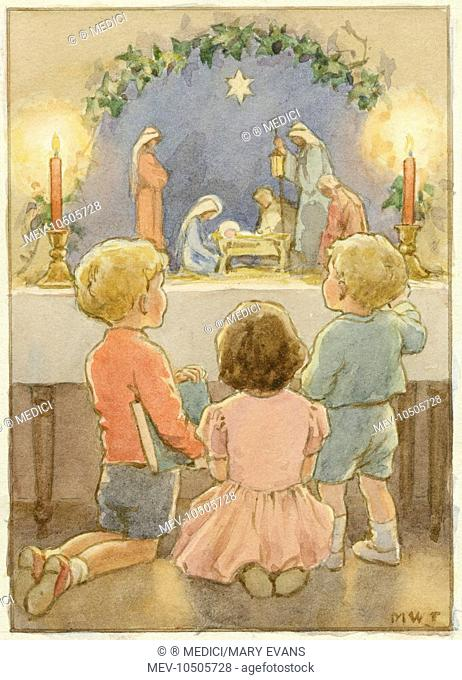 'The Chidren's Crib' - 3 children looking at model crib scene. Christmas card