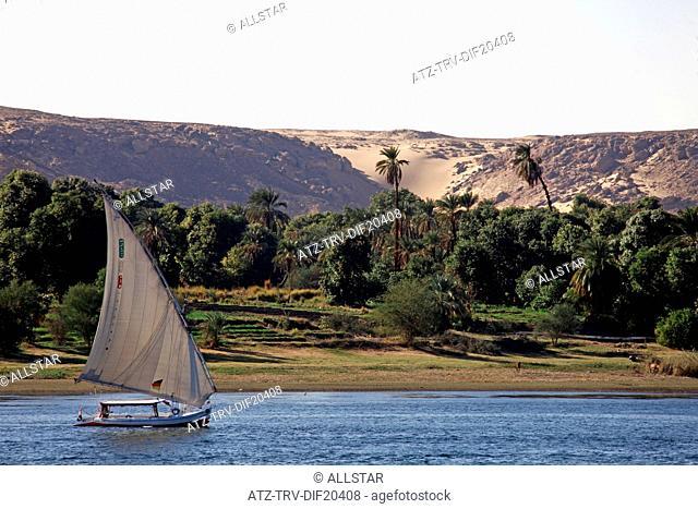 SAILING FELUCCA & WEST BANK; RIVER NILE, ASWAN, EGYPT; 11/01/2013