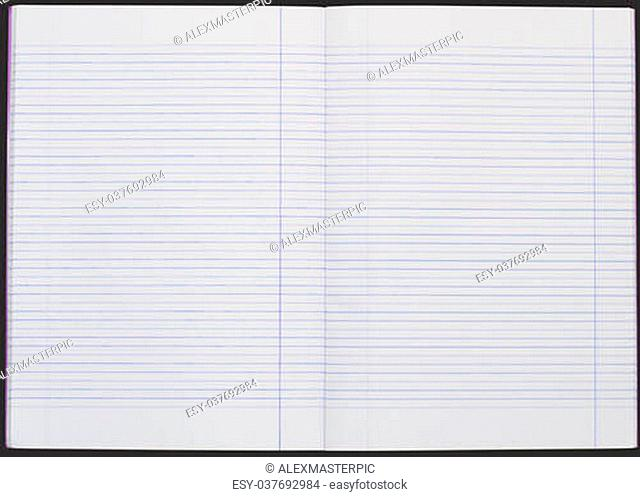 the blank line notebook paper -black background