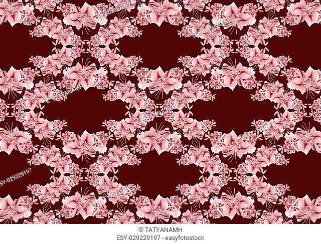 Shade less burgundy seamless background covered garlands from flower of lily, asters