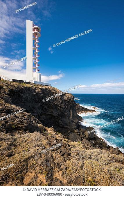 Coast landscape and lighthouse in Buenavista, north tenerife island, Canary islands, Spain