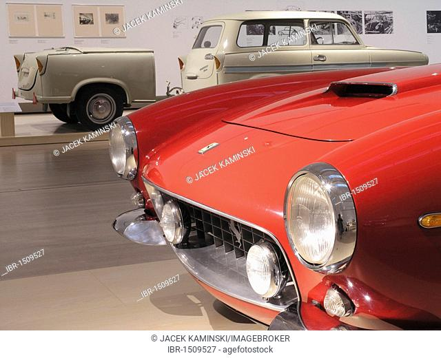 Ferrari 250 GT and a Trabant with a trailer, Mitomacchia exhibition, Museum of Modern Art, MART, Rovereto, Italy, Europe