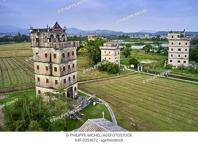 Chine, Province de Guangdong, Kaiping, patrimoine mondial de l'Unesco, village de Zili, les Diaolou sont des tours fortifiées / China, Guangdong, Kaiping