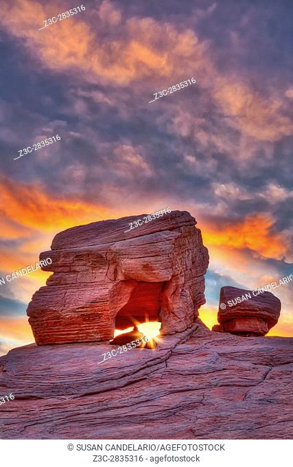 Valley Of Fire Rock Formations - One of the many red rock formations at the Valley of Fire State Park in Nevada. . . This particular sandstone formation gives...