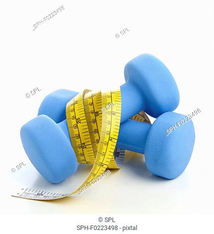 Dumbbells with tape measure