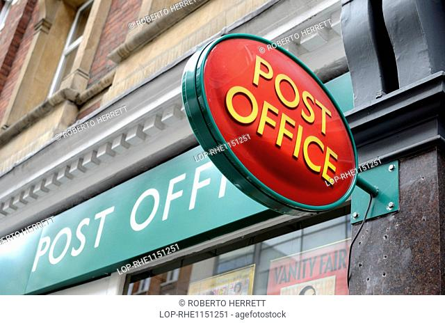 England, London, Westminster. A Post Office sign