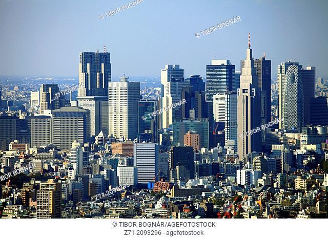 Japan, Tokyo, Shinjuku, skyline, general aerial view,