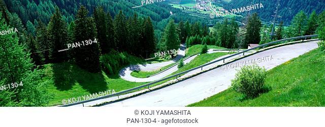 Winding Mountain Road, Umbrail Pass, Engadin, Switzerland
