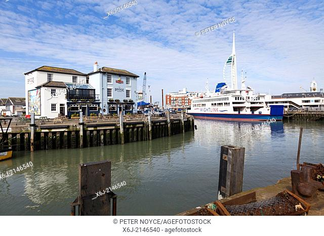 Wightlink ferry and the Bridge Pub at Portsmouth Harbour, Old Portsmouth