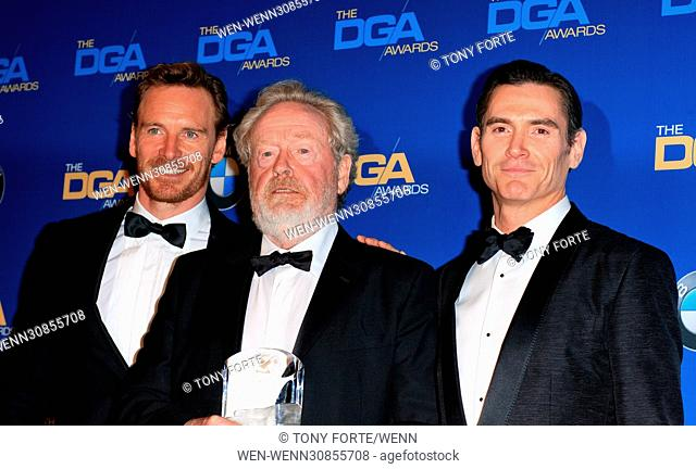 The 69th Annual Director Guild Awards held at the Beverly Hilton - Press Room Featuring: Michael Fassbender, Ridley Scott Where: Los Angeles, California