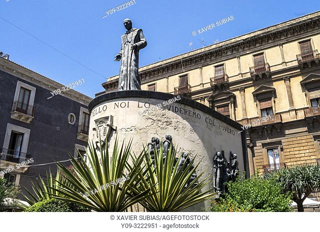 Beato Cardinale Giuseppe Benedetto Dusmet monument, Catania, Sicily, Italy
