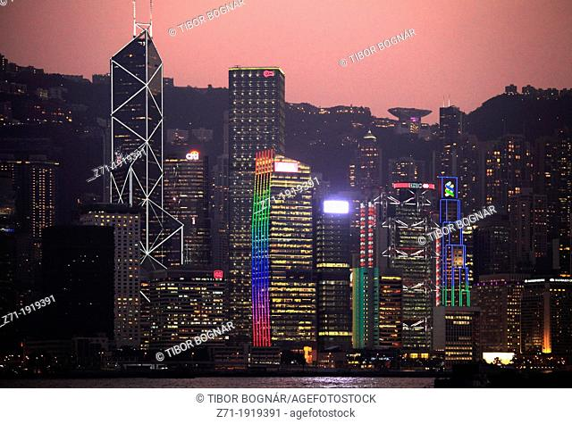 China, Hong Kong, Central District, skyline, night