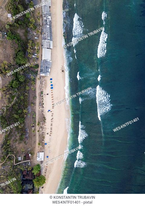 Indonesia, Bali, Aerial view of Balangan beach