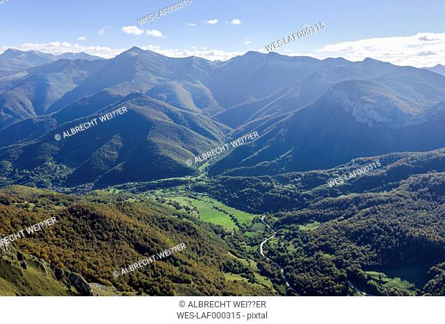 Spain, Cantabria, Picos de Europa National Park, View from Mountain station El Cable