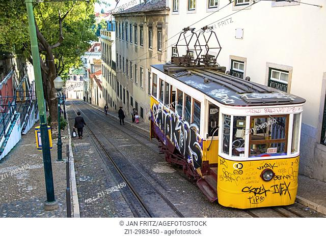 famous yellow tram with grafitti in Lisbon, Portugal
