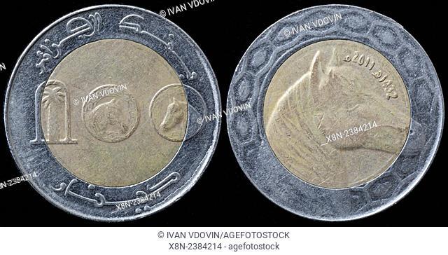 100 dinars coin, Algeria, 2011