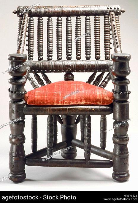 Turned chair. Date: ca. 1600; Culture: British; Medium: Ash, velvet; Dimensions: H. 39 x W. 28 x D. 20-1/2 in. (99.1 x 71.1 x 52