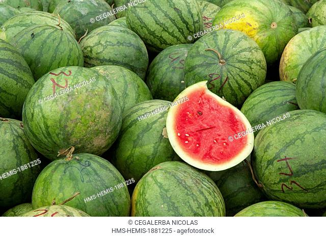 Indonesia, Sumatra Island, Aceh province, Takengon, Watermelons in Takengon market