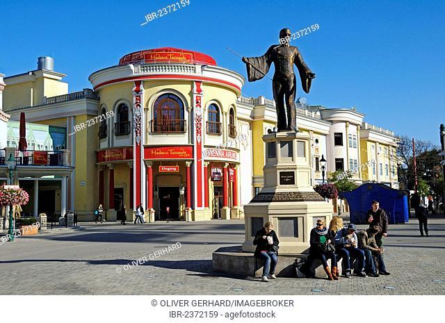 Monument of Basilio Calafati in front of Madame Tussauds Wax Museum, Prater amusement park, Vienna, Austria, Europe