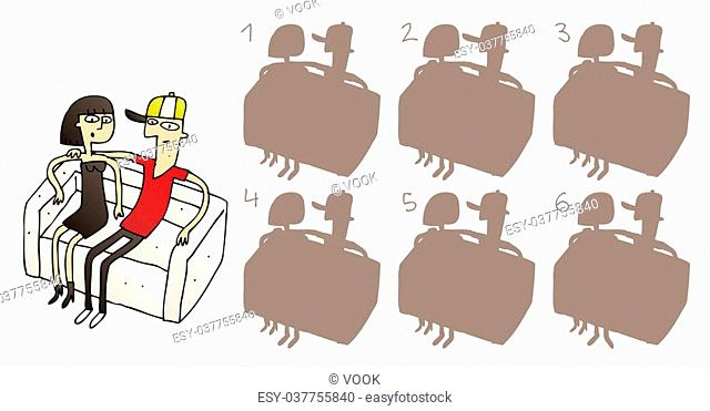 Couple on Sofa Shadows Visual Game. Task: find the right shadow image! Answer: No. 4. Illustration is in eps8 vector mode!