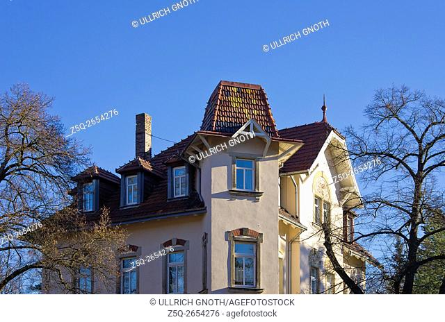Upper part of some historic residential town house in the urban mansion district of Klotzsche in Dresden, Saxony, Germany