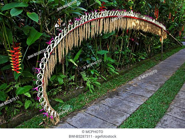a traditional penjor vor Galungan festival, Indonesia, Bali, Ubud