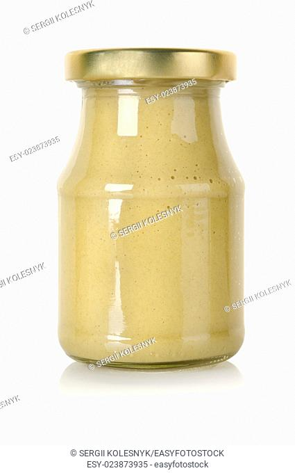 Glass jar of mustard isolated on a white background