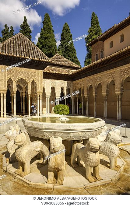 Patio de los Leones, Court of the Lions. Alhambra, UNESCO World Heritage Site. Granada City. Andalusia, Southern Spain Europe
