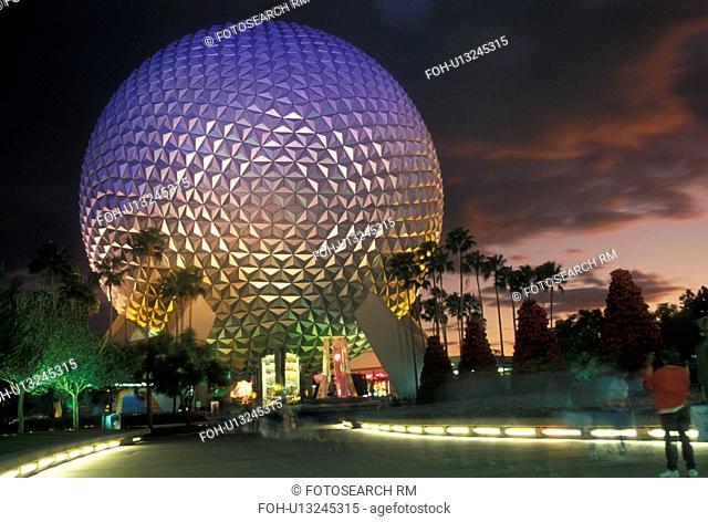 Disney World, Epcot, Orlando, FL, Lake Buena Vista, Florida, Spaceship Earth in Epcot Center illuminated at night at Walt Disney World in Lake Buena Vista