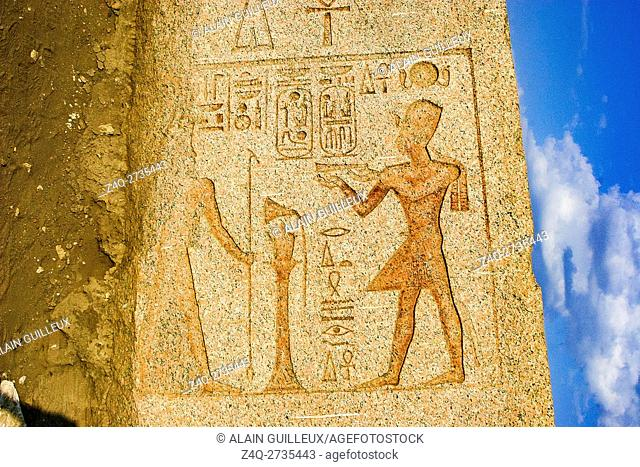 Egypt, Nile Delta, Tanis, First pylon, obelisk with cartouches of Ramses. The king offers to Atum, the Great God, the Master of the Sky