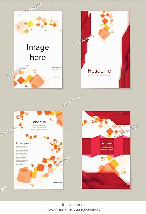 Abstract composition, business card set, box block text frame, geometric shape font texture, a4 brochure title sheet, creative square figure icon