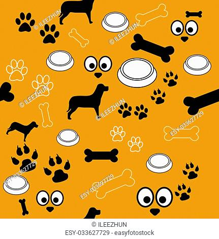 A brown background with pattern of different dog or pet related elements