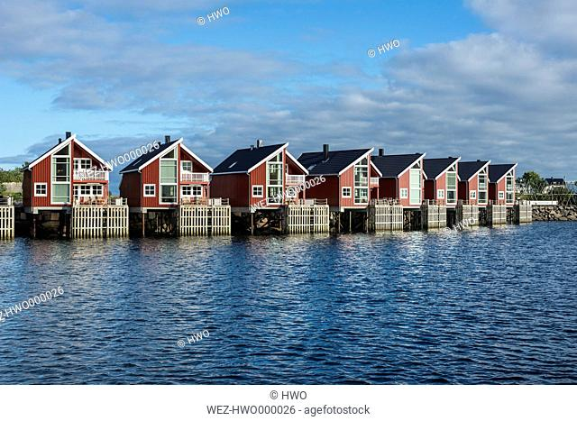 Norway, Fisherman huts at harbor