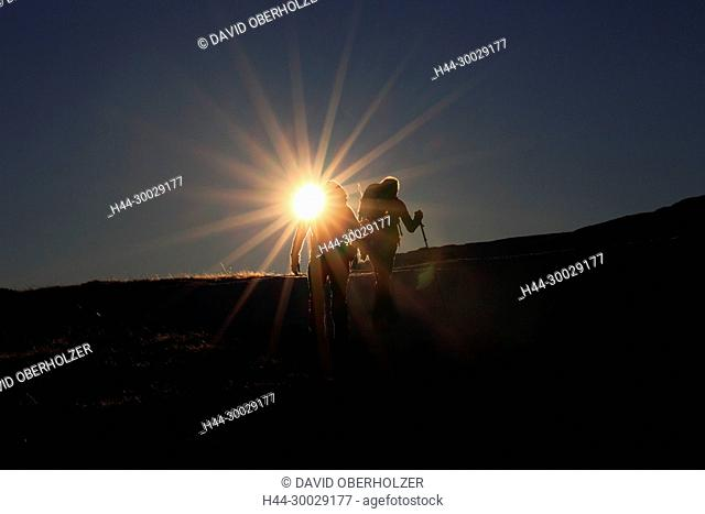 The Alps, mountains, the Bernese Oberland, Europe, light mood, person, Niederhorn, people, Switzerland, sundown, walking, wandering