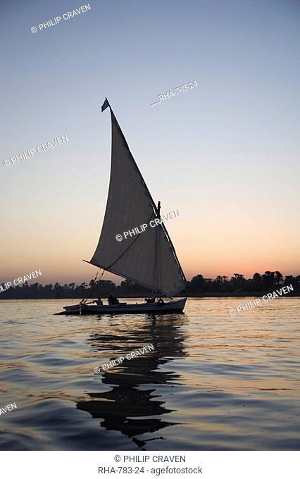 Felucca, sunset, River Nile, Luxor, Egypt, North Africa, Africa