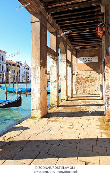 Vintage passage and Grand Canal in Venice