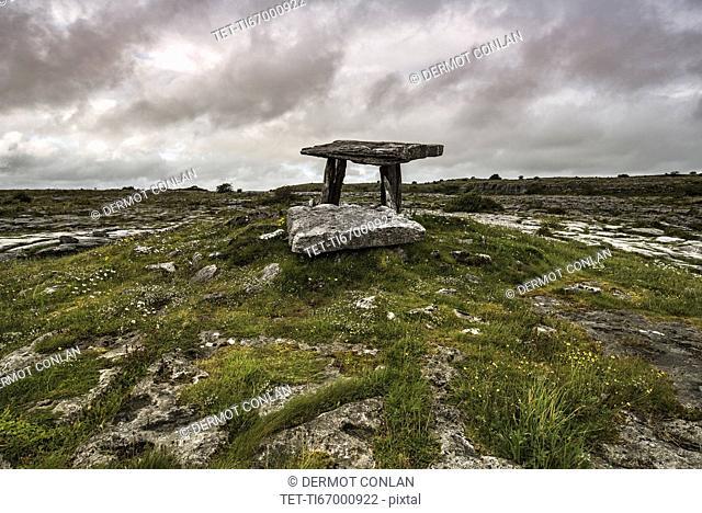 Ireland, Clare County, Burren, Poulnabrone Dolmen over plain